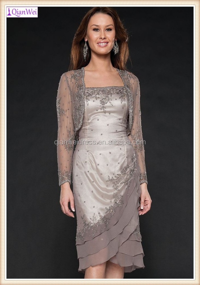 2015 latest hot sale gray lace tea length mother of the bride jacket dress