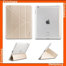 Folding stand ultra-thin design leather smart cover cases for ipad 4