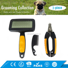 Three-piece Pet Cat Dog Hair Brush and Nail Scissors Clippers Kit Pet Grooming Set