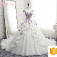 Alibaba Hot Cake Light Purple Long Sleeve Hand made 3D Flowers Floral Bridal Gown Luxury Heavy Beading Wedding Dress 2017