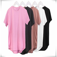 PE24 Cheap Wholesale Plain Hemp Longline t shirt For Promotion With Low MOQ