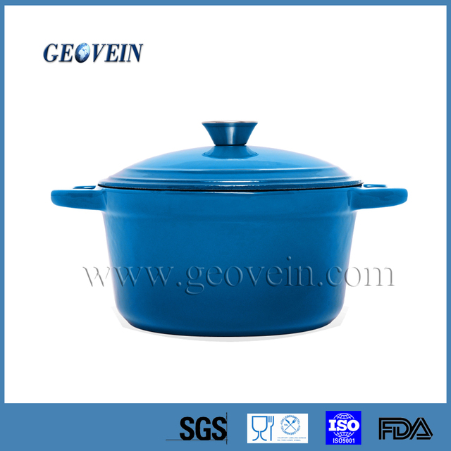 skyblue double handle cooking pot cast iron pot Cast iron casserole biryani cooking pot with lid