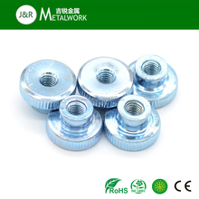 M6 M7 M8 M9 Grade 8.8 Galvanized Steel Blue Zinc Plated Knurled Nut With Collar DIN466