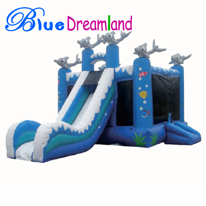 Universal inflatable dolphin water slide for sale in China