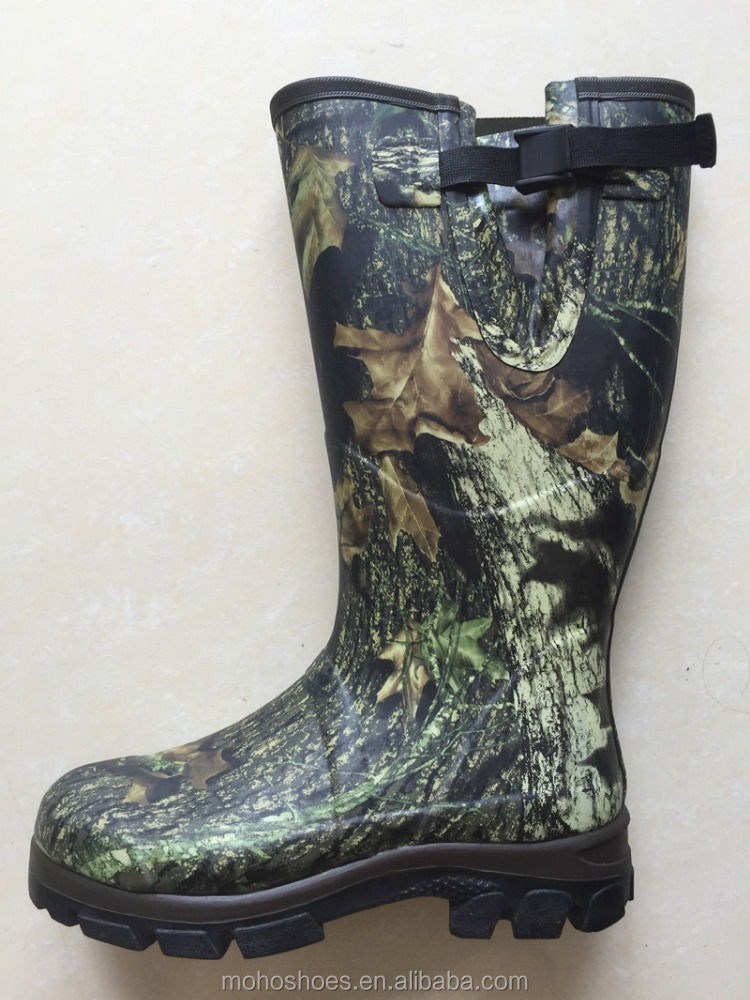 Men's public camouflag neoprene hunting rubber boots
