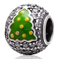 Green Enameled Christmas Tree White Zircon Pave Round Sterling Silver Beads Fit European Charm Bracelet Necklace Jewelry SZPB253
