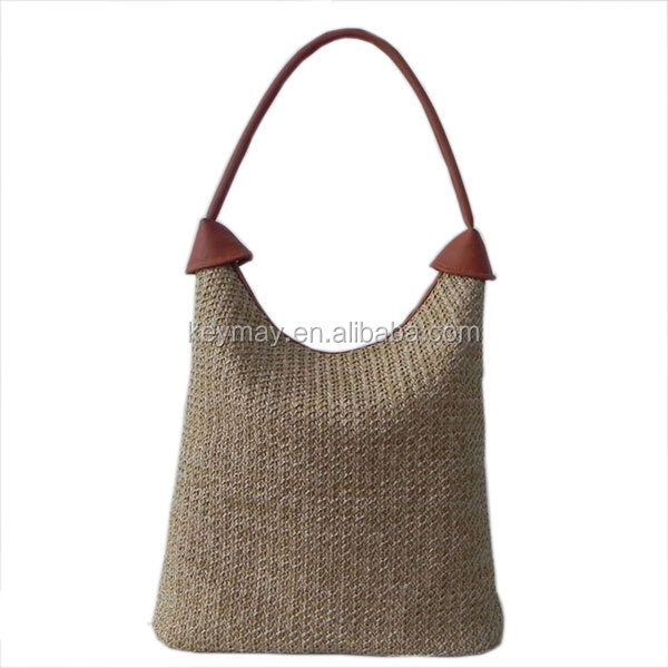 Wholesale straw bag beach pouch fashion tote bag pu women shoulder bag