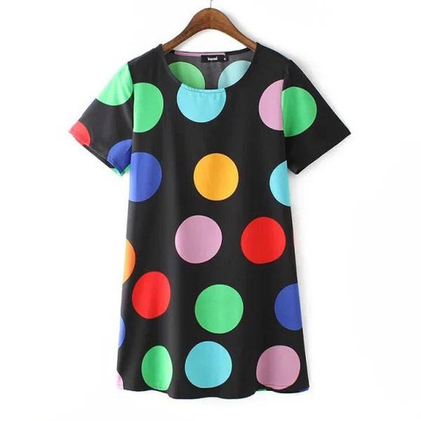 Dot Print Colorful Women Dresses Summer Short Sleeve Elegant 2015 Summer Style Female Cute  Women Clothing Ladies Office Beach