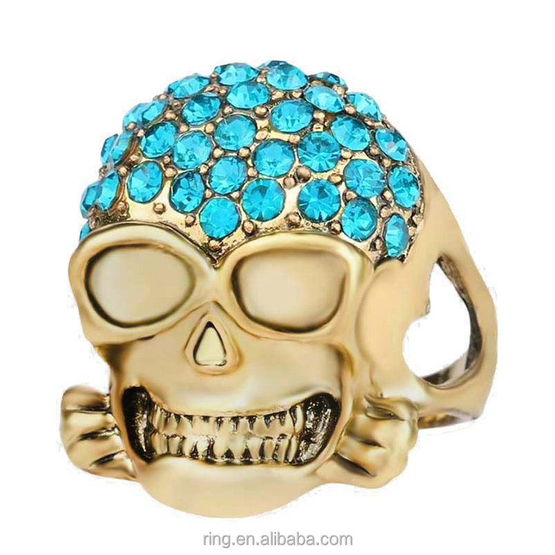 Punk exaggerate gold diamonds skull head stretch couple rings