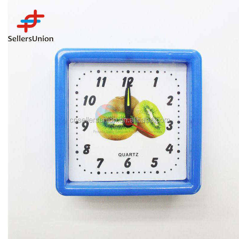 2016 No.1 Yiwu agent hot sale export commission agent Cheap Price Square Blue Alarm Clock