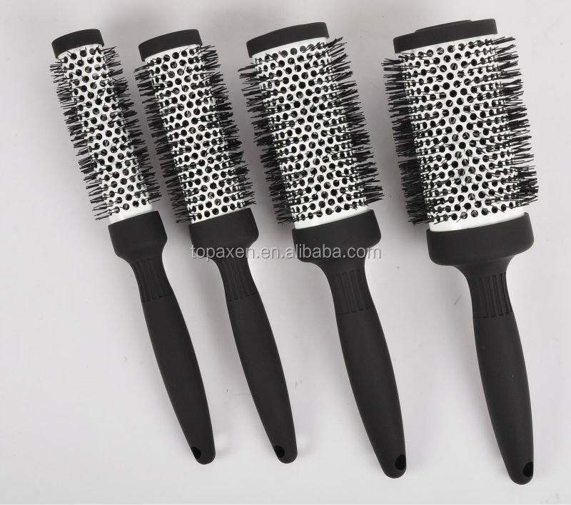 Hair brush nylon bristle ceramic aluminum barrel heat resistence ionic fuction