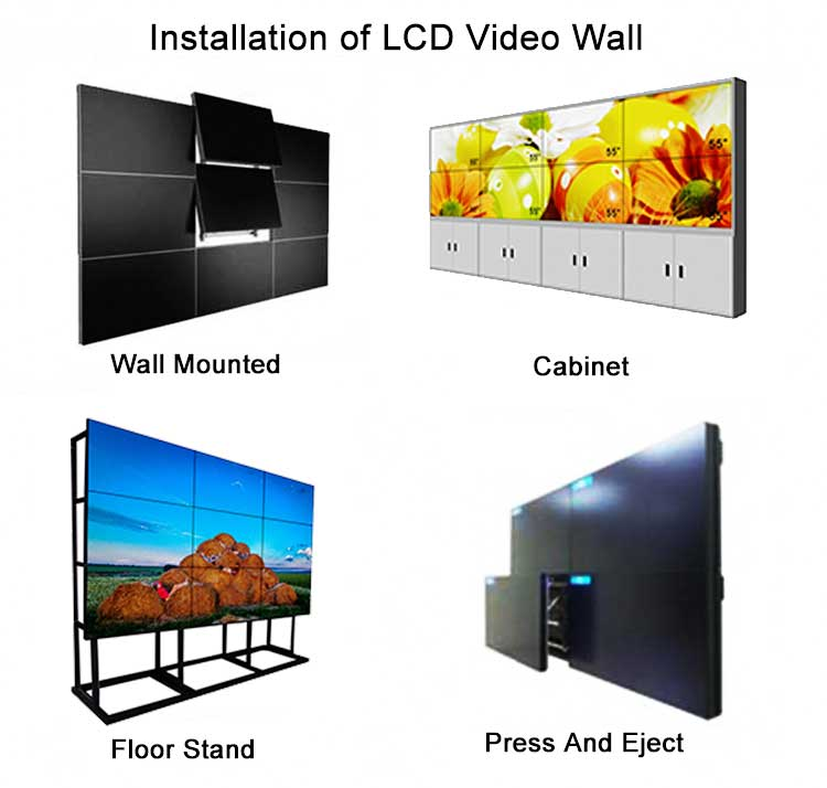 Indoor 55 inch touch 1.8mm bezel did lcd video wall with 4k input