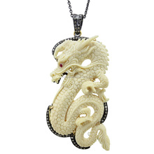 Bone diamond designer 925 sterling silver chain carved gemstone dragon pendant jewelry