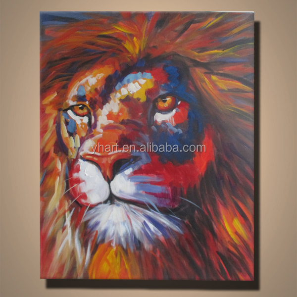 Handmade Modern Colorful Lion Wall Art And Animal Head Oil Painting with Textured