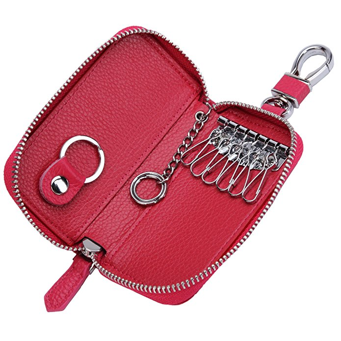 Women's Genuine Leather Zipper Key Case Car Key Holder 6 Hook Key Wallet