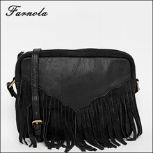 2016 Fashion customized wholesale lady small leather cross body leather bag handbags with tassal