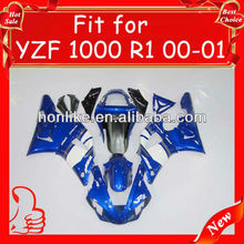 Motorcycle fairings for YZF R1 2000 2001 ABS plastic, 2000 2001 body kit Blue/white
