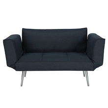 Modern Leisurely Small 2 Seater Sofa One Person Bed With Folding Armrests and Metal legs