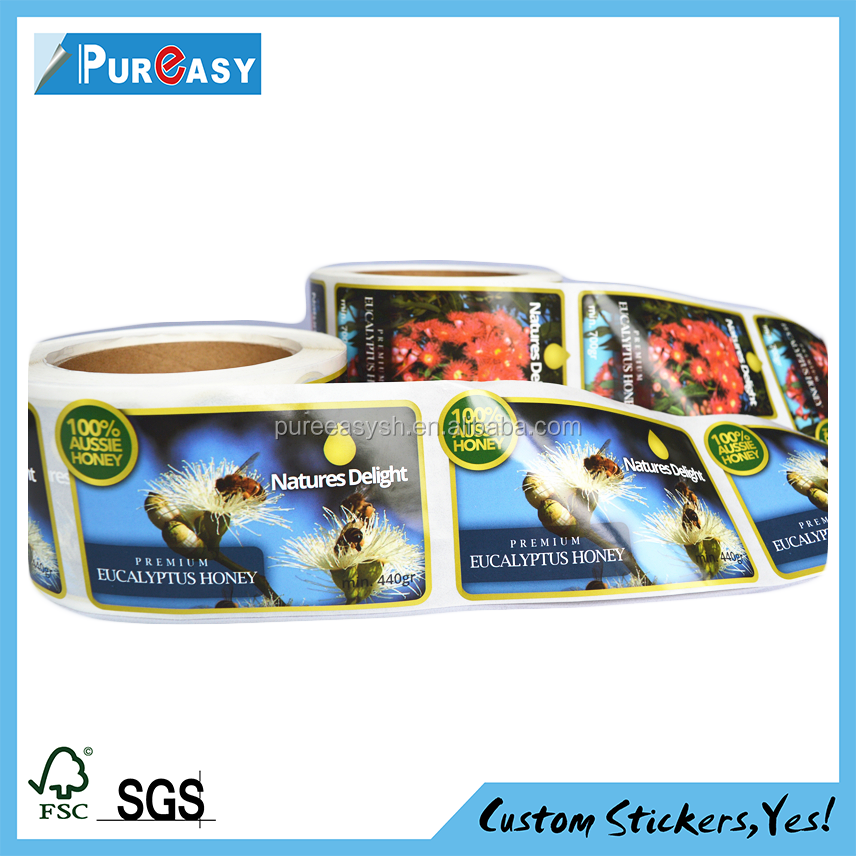 New design high quality PP roll bottle honey label sticker