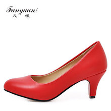 women shoes ladies office wear dress shoes middle heel pump shoes for lady size 32-45