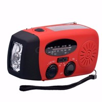 Portable Solar Hand Crank Self Powered Phone Charge 3 LED Waterproof Emergency Survival Red Flashlight AM/FM/WB Radio