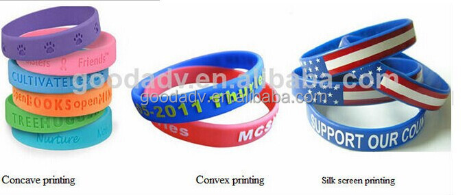2015 fashion debossed color mix peace thin silicon rubber bracelet