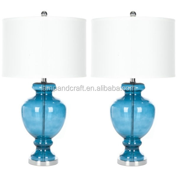 2016 modern turquoise glass table lamps with white round cotton lamp shade for 5 star hotel