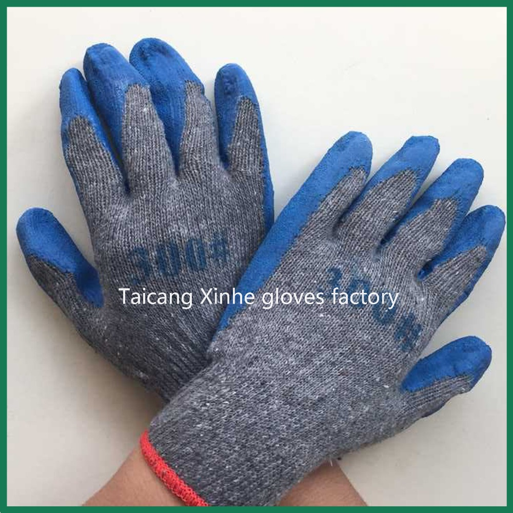 300# blue rubber palm coated gray cotton industrial working safety gloves