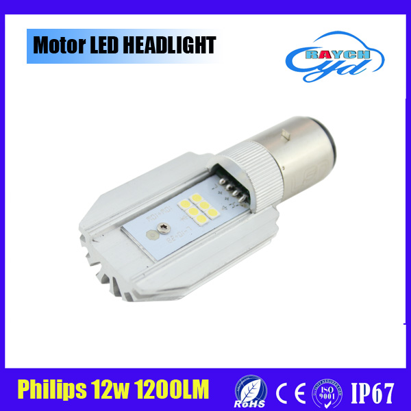 12W H4 BA20D Motor spare part high power Flip led 1200lm motorcycle headlight