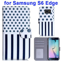 Dot and Stripe Pattern Flip Leather Wallet Case for Samsung Galaxy S6 Edge