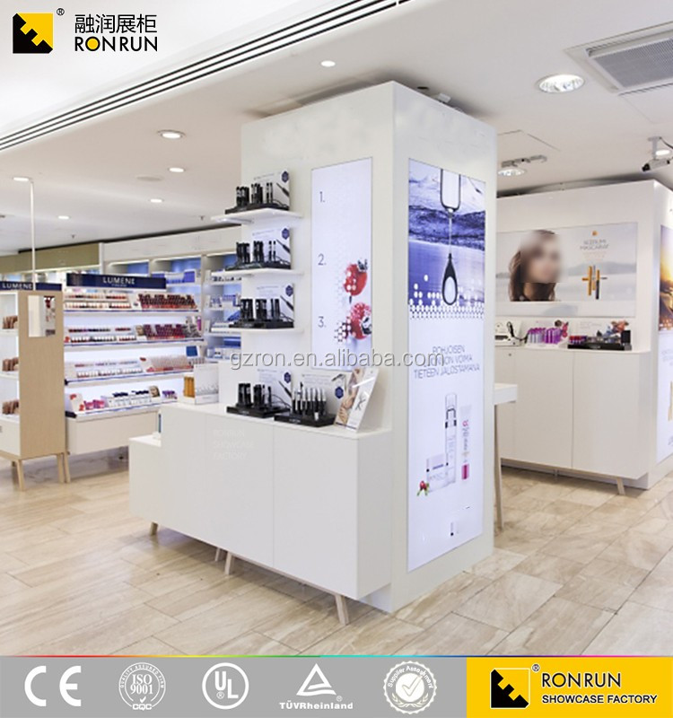 RCF1079 Hot sale volume of 600 thousand, classic fashion white cosmetic makeup display showcase and cabinet design from Ronrun