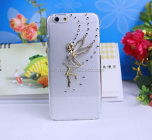 Angel Girl Design 3D Diamond PC Transparent Case For iPhone 4/4s/5/5s/6/6+