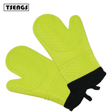Extra long quilted cotton lining microwave oven use silicone hand gloves
