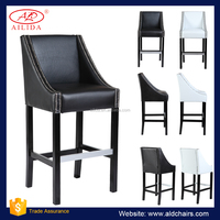 PC-114 Modern Style Black And White Bar Chair Counter Chair With Wooden Legs