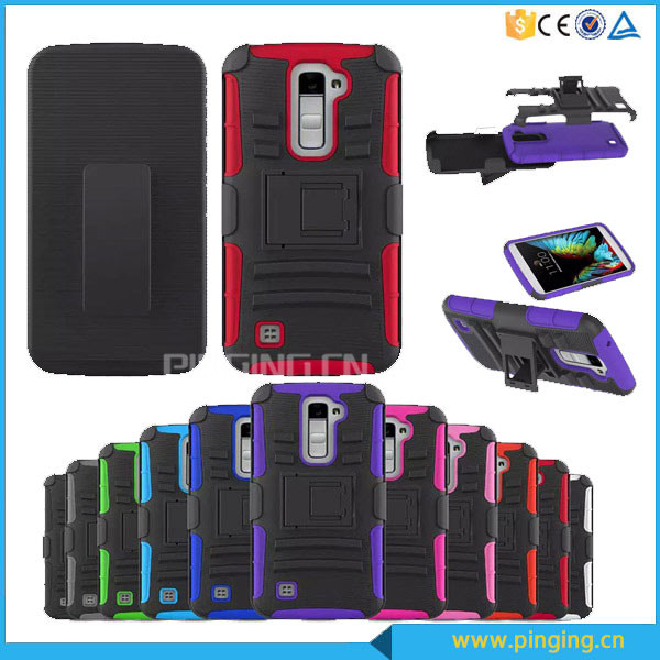 Heavy duty 3 in 1 belt clip holster case for LG K10 ,kickstand case for LG K10