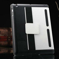 Stand leather case for ipad 2 3 4 with arm band and speak louder , leather case for ipad 2
