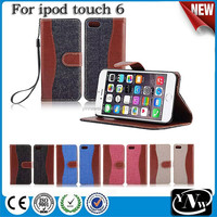 2016 cowboy cheap leather flip case for ipod touch 6