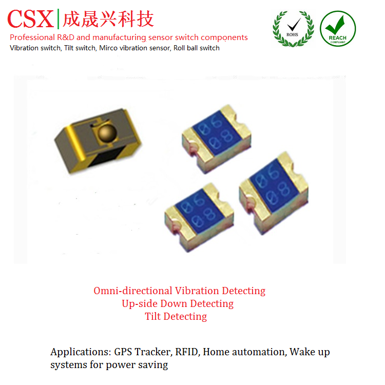 mini vibration sensor switch CSX0608A with higher quality wake function for pet tracker or watch or TPMS