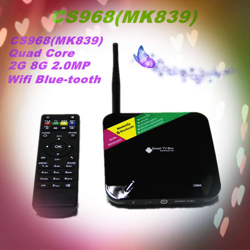 Quad core cs968 bluetooth 4 cs968 rk3188 wifi cs968 tv box cs968 smart tv box 2.0mp camera cs968 android tv box MK839