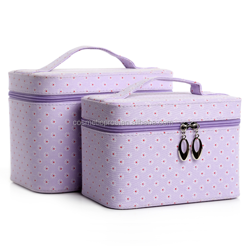 Sunflower cosmetic carrying case Toiletry bag Travel cosmetic case set with Mirror custom pure color