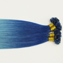 Crazy human hair extensions ombre blue color keratin prebonded extensions
