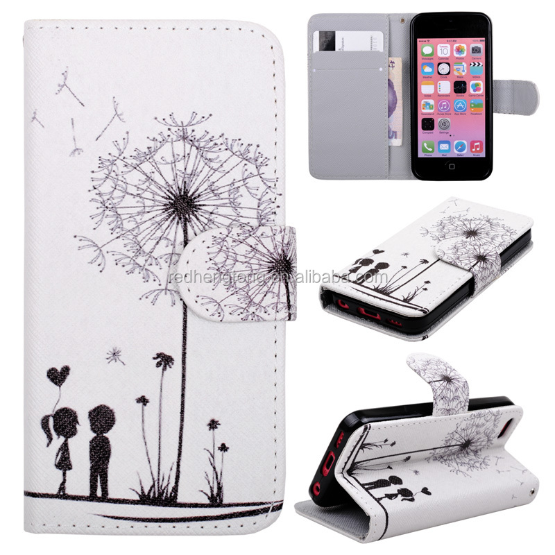 Dandelion Printing Case Magnetic Wallet Leather Stand Case for iPhone 5C