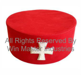 Knight Templar Cap-hat With A Silver Embroidered Cross
