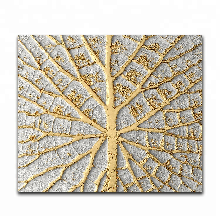 Metallic foil canvas painting wall art for indoor decoration, View ...