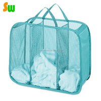 folding mesh laundry basket with 3 Compartments sorters