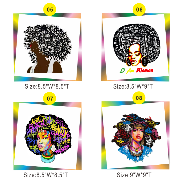 Free Shipping Afro Vinyl Heat Transfer Designs Available To Choice(5design/lot,5PCS/Design)