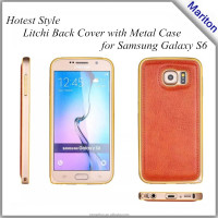 Top Selling Very new models s6 case with leather back + metal bumper combo with free retail package