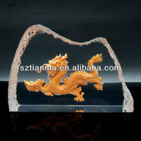 Transparent resin paperweight with metal dragon insert Fengshui items