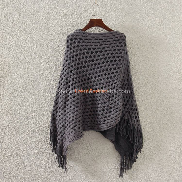 Handmade Wholesale Knit Poncho Women Pure Cashmere Poncho scarfs
