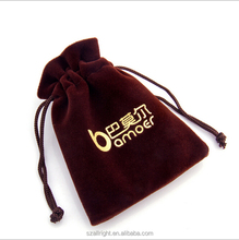 custom velvet jewelry pouches with a gold foil logo wholesale drawstring bag